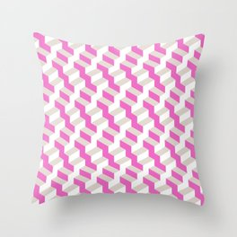 Pink and White Pattern with Grey Fractal Art Throw Pillow