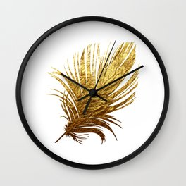 Golden Feather Wall Clock