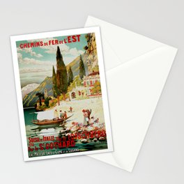 Switzerland and Italy Via St. Gotthard Travel Poster Stationery Cards