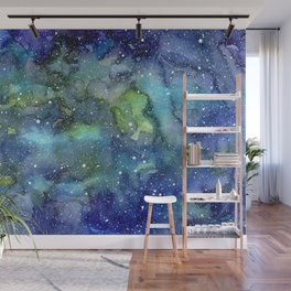 Space Galaxy Blue Green Watercolor Nebula Painting Wall Mural