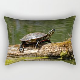 Painted Turtle on a Log - Photography Rectangular Pillow