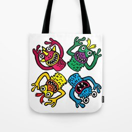 Retro Toy Finger Monsters Tote Bag