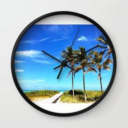 Palm Trees Caribbean Ocean Wall Clock