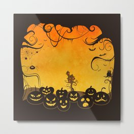 Halloween Pumpkin Faces Metal Print