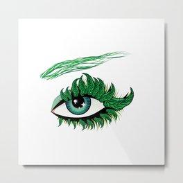 Spring eye with green leaves Metal Print
