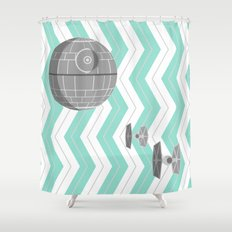 Turquoise and Gray Death Star, Tie Fighters, and Chevrons Shower Curtain