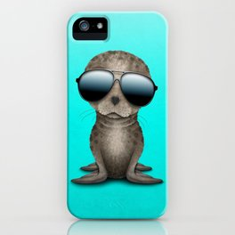 Cute Baby Sea Lion Wearing Sunglasses iPhone Case