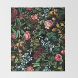 Floral Jungle Throw Blanket