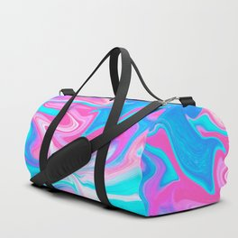 Modern abstract pink turquoise blue bright marble effect Duffle Bag