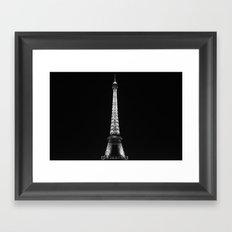 Paris Eiffel Tower in Black and White Framed Art Print