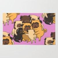 pugs Area & Throw Rugs featuring Pugs Group Hug by Huebucket