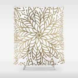 Elegant white faux gold floral trendy mandala Shower Curtain