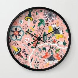 BOHO Chintz (Coral Pink) Wall Clock