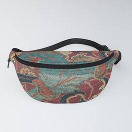 Flowery Arabic Rug I // 17th Century Colorful Plum Red Light Teal Sapphire Navy Blue Ornate Pattern Fanny Pack