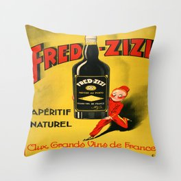 Vintage poster - Fred-Zizi Aperitif Throw Pillow
