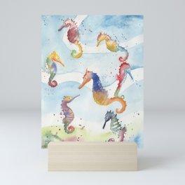 Colorful Seahorses Mini Art Print