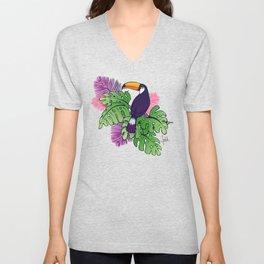 Tropical Toucan Design Unisex V-Neck