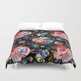 Pink red blue watercolor hand painted flowers Duvet Cover