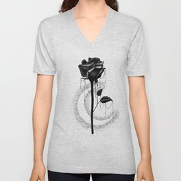 Black rose drips Unisex V-Neck