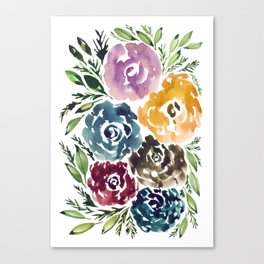 hand painted flowers_1 Canvas Print