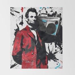 ABRAHAM LINCOLN INK SPLASH RED MAKE MUSIC NOT WAR Throw Blanket