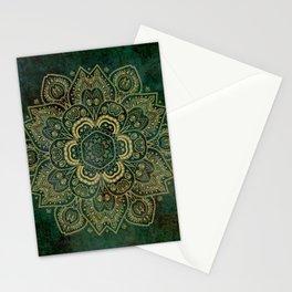 Golden Flower Mandala on Dark Green Stationery Cards