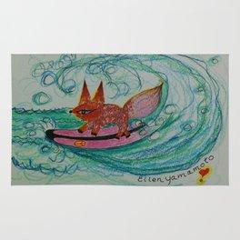 surfing, surfing art, fox art, fox, Rug