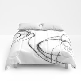 Minimalist Abstract Black and White Line Drawing Comforters
