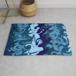 Deep Blue Sea: Blue, Aqua, and Teal Marbled Paint Rug
