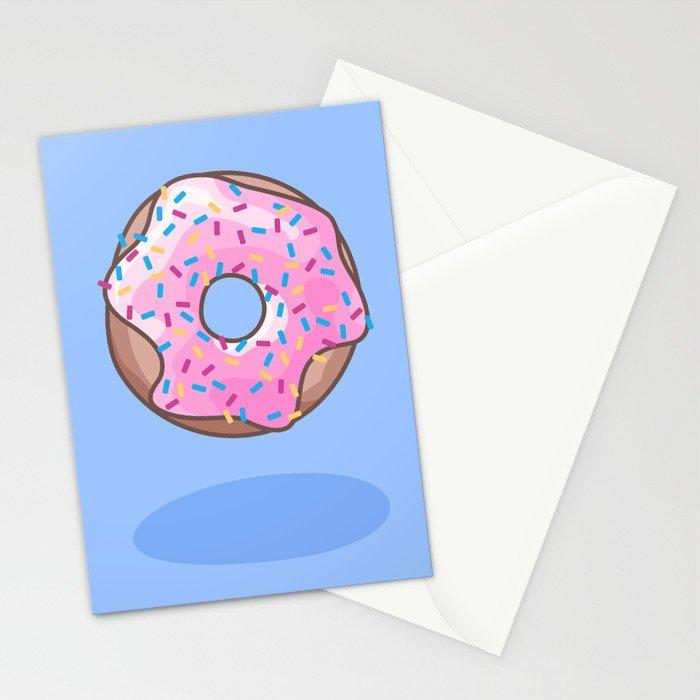Pink Strawberry Donut Stationery Cards