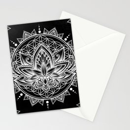 Lotus Mandala - Black Stationery Cards