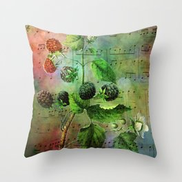 Blackberry Music, Vintage Botanical Illustration Collage Art Throw Pillow