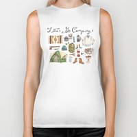 backpack Biker Tanks featuring Let's Go Camping by Brooke Weeber