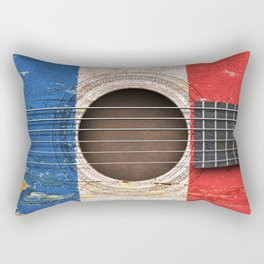 Old Vintage Acoustic Guitar with French Flag Rectangular Pillow