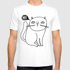 Shy Little Cat SMALL Mens Fitted Tee White