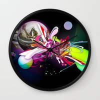 runner Wall Clocks featuring Splash Runner by Andre Villanueva