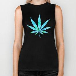 Blue Mint Cannabis Swirl Biker Tank