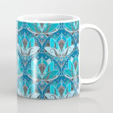 Art Deco Lotus Rising - black, teal & turquoise pattern Coffee Mug