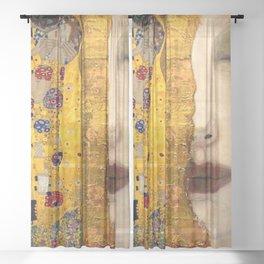 Gustav Klimt portrait The Kiss & The Golden Tears (Freya's Tears) No. 2 Sheer Curtain
