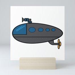 A Cute Illustration Of A Gray Submarine Underwater Sea Ocean Navy Submariner Snorkeling Air Bubbles Mini Art Print