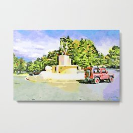 L'Aquila: red cars and fountain Metal Print