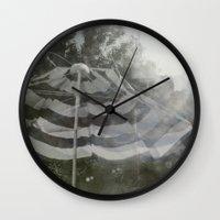umbrella Wall Clocks featuring Umbrella by Anja Hebrank