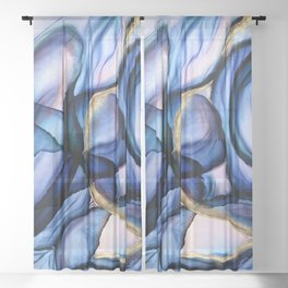 Mesmerize - Indigo, Cerulean, and Pale Pink Abstract Sheer Curtain