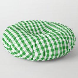 Christmas Green Gingham Check Floor Pillow