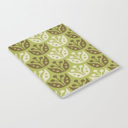 Mid Century Modern Flower Pattern Chartreuse and Brown 112 Notebook