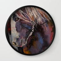 pony Wall Clocks featuring Highland Pony by Michael Creese