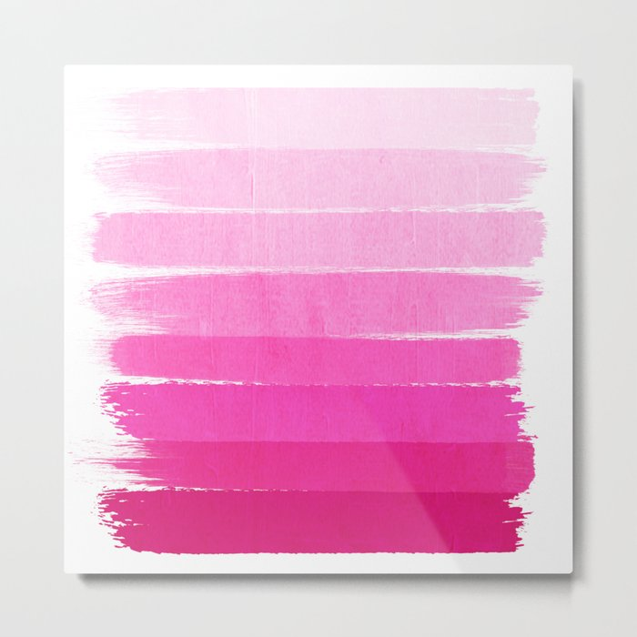 Luca - abstract painted ombre pink stripes striped minimalist art decor Metal Print