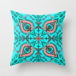 Garden folk art floaral with Scandinavian motifs-cyan and coral color palette Throw Pillow