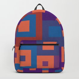 Colorful Squares Geometric Shape Patterns Backpack