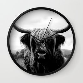 Scottish Highland Cattle Black and White Animal Wall Clock